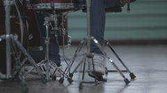 A young man plays the drums closeup Stock Footage