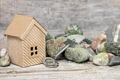 Construction of individual houses - stock photo