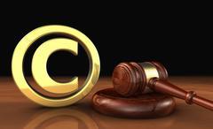 Copyright Icon And Gavel Law Symbol Stock Illustration