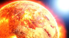 Earth burning or exploding after a global disaster, apocalyptic scenario. Stock Photos