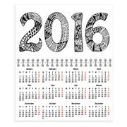 Spiral calendar with ornate 2016 as cover - stock illustration