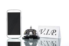 globalization website booking lodging by cell phone, vip Service - stock photo