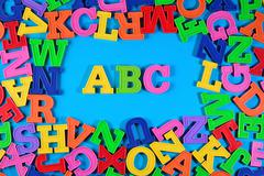 Plastic colored alphabet letters ABC Stock Photos