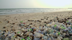 polluted sea shore - stock footage