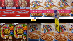 Multiple cereal options at grocery store aisle Stock Footage