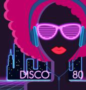 Disco 80s. Girl with Headphones - stock illustration