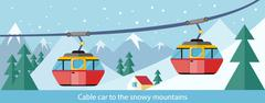 Cable Car to Snowy Mountains Design - stock illustration