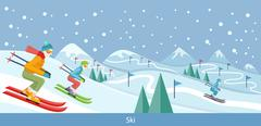 Skiing Winter Landscape Design - stock illustration
