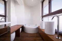 White and brown bathroom design - stock photo