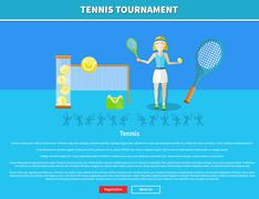 Tennis and tournament web interface page - stock illustration