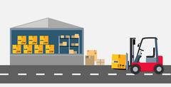 Warehouse and Stackers Flat Design Stock Illustration