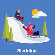 Sledding children design flat style - stock illustration