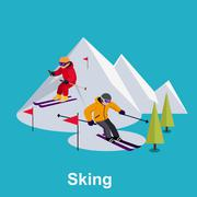 People Skiing Flat Style Design - stock illustration