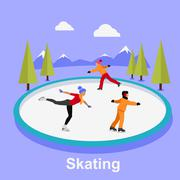 People Skating Flat Style Design - stock illustration