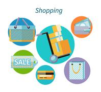 Shopping Concept Flat Design Style - stock illustration