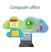 Computer Office Concept Flat Design Icon - stock illustration
