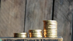 a man rising coins - stock footage