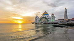 Time lapse. Sunset at Floating Mosque, Straits of Malacca. - stock footage