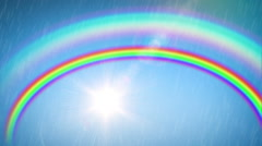 Beautiful Rainbow with the Sun and Rain. Time Lapse. HD 1080. Stock Footage