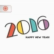 New year 2016 greeting card design Stock Illustration