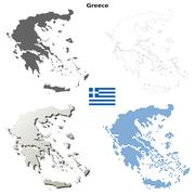 Greece outline map set Stock Illustration
