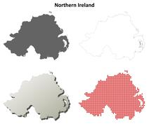 Northern Ireland outline map set Stock Illustration