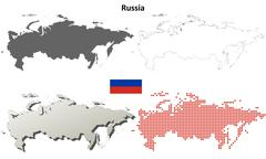 Stock Illustration of Russia outline map set