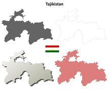 Tajikistan outline map set Stock Illustration