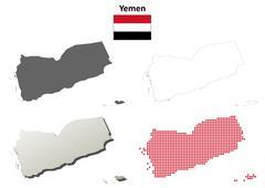 Stock Illustration of Yemen outline map set