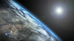 Earth and Sun - 3d footage of planet Earth and the Sun Stock Footage