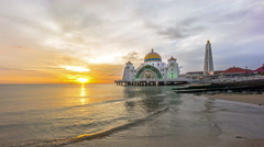 Time lapse. Sunset at Floating Mosque, Straits of Malacca. Stock Footage