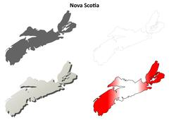 Nova Scotia blank outline map set Stock Illustration