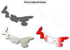 Prince Edward Island blank outline map set - stock illustration