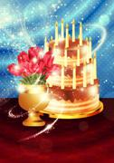 Chocolate cake and tulips - stock illustration