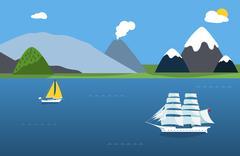 Sailing boats and sea landscape Stock Illustration