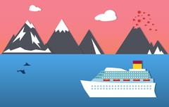 Passenger ship, dolphins and mountains Stock Illustration