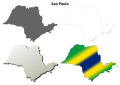 Sao Paulo blank outline map set Stock Illustration