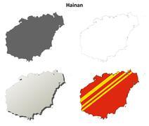 Stock Illustration of Hainan blank outline map set