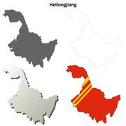 Heilongjiang blank outline map set Stock Illustration