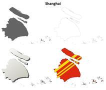 Shanghai blank outline map set - stock illustration