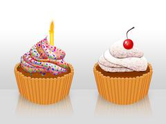 Decorated cupcakes Stock Illustration