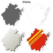 Stock Illustration of Zhejiang blank outline map set