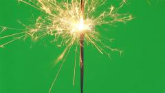 Firework sparkler burning  on green screen background - stock footage