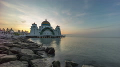 Time lapse. Sunrise at Floating Mosque, Straits of Malacca. Stock Footage