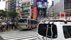 Crowds of people crossing the famous crosswalks at the centre of Shibuya's - stock footage