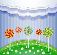Vector illustration with candy. Stock Illustration