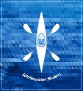 Whitewater paddle sports illustration. White silhouette on deep blue background Stock Illustration