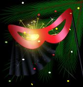 Festive red half mask Stock Illustration