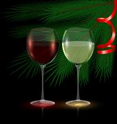 Festive glasses of wine Stock Illustration
