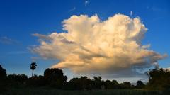 Nice clouds with sunset light effected in blue sky - stock photo